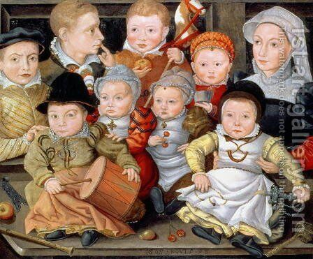 Portrait of a mother with her eight children, 1565 by Jacob Seisenegger - Reproduction Oil Painting