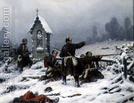 Winter Skirmish by a Shrine, 1846 by Christian Sell - Reproduction Oil Painting