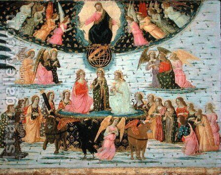 Triumph of Eternity, inspired by Triumphs by Petrarch 1304-74 by Jacopo Del Sellaio - Reproduction Oil Painting