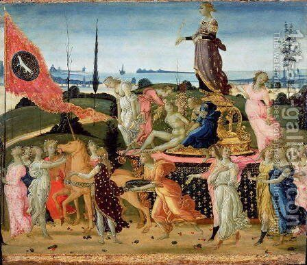 Triumph of Chastity, inspired by Triumphs by Petrarch 1304-74 by Jacopo Del Sellaio - Reproduction Oil Painting