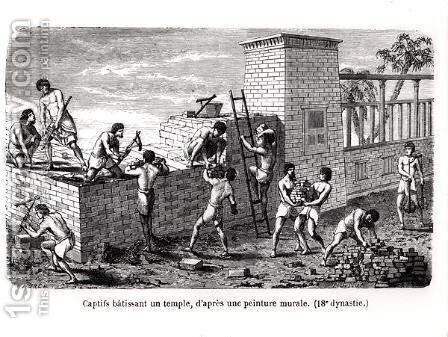 Slaves Building a Temple, after an 18th Dynasty Mural by (after) Sellier, P. - Reproduction Oil Painting