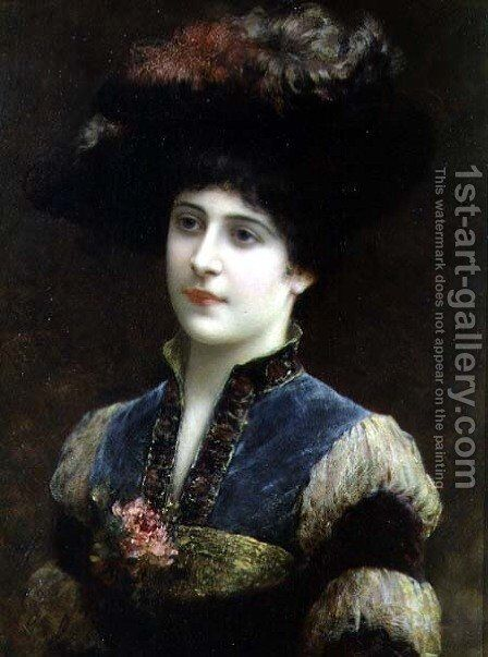 Lady in a Hat, 1887 by Emile Eismann Semenowski - Reproduction Oil Painting