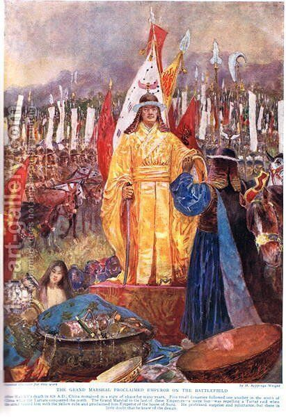 The Grand Marshal Proclaimed Emperor on the Battlefield, illustration from Hutchinsons History of the Nations, c.1920 by H. Sepping Wright - Reproduction Oil Painting