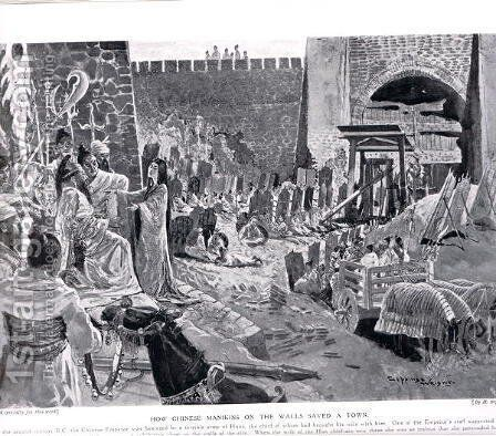 How Chinese Maninkins on a wall save a town, illustration from Hutchinsons History of the Nations, c.1920 by H. Sepping Wright - Reproduction Oil Painting