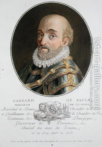 Gaspard de Saulx 1509-73 Seigneur de Tavanes, 1788, from Portraits des grands hommes, femmes illustres, et sujets memorables de France, engraved by Ride, published 1787-92 by Antoine Louis Francois Sergent-Marceau - Reproduction Oil Painting