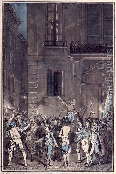 The mob roaming the streets of Paris carrying torches at night in July 1789 by Antoine Louis Francois Sergent-Marceau - Reproduction Oil Painting