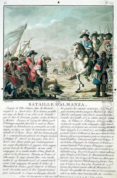 Battle of Almansa, 25th April 1707, engraved by Jean Baptiste Morret fl.1790-1820, 1787 by Antoine Louis Francois Sergent-Marceau - Reproduction Oil Painting