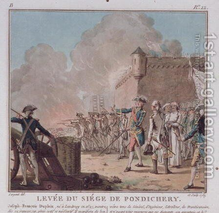 Lifting of the Siege of Pondicherry, 1748, engraved 1789 by Antoine Louis Francois Sergent-Marceau - Reproduction Oil Painting