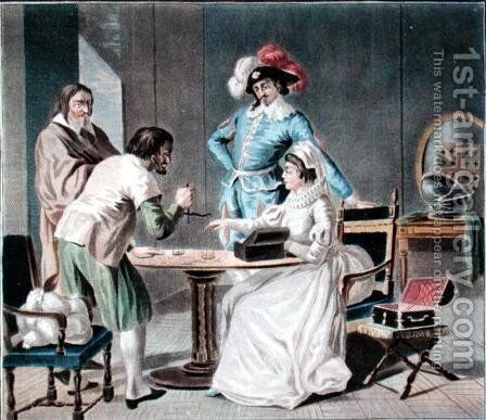 Henri II, Duke of Montmorency 1595-1632 buying diamonds from his wife in order to fight the Calvinists, engraved by Jean Baptiste Morret fl.1790-1820 by Antoine Louis Francois Sergent-Marceau - Reproduction Oil Painting