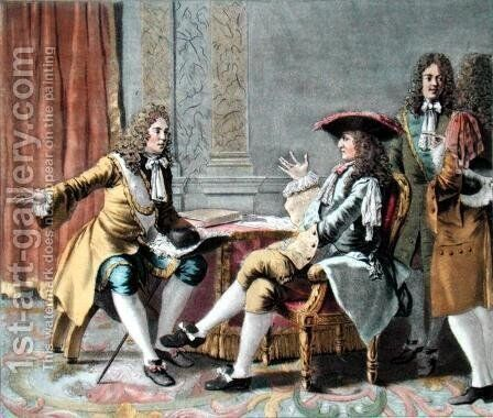 Duguay-Trouin 1673-1736 recounting his naval exploits to Louis XIV, engraved by Madame de Cernel 1753-1834, 1789 by Antoine Louis Francois Sergent-Marceau - Reproduction Oil Painting