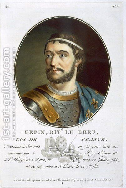 Portrait of Pepin, Called Le Bref, King of France 714-768, engraved by Madame de Cernel, 1789 by Antoine Louis Francois Sergent-Marceau - Reproduction Oil Painting