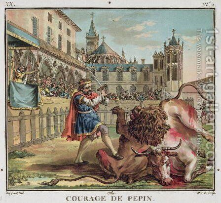 The Courage of Pepin 714-68, engraved by Jean Baptiste Morret fl. 1790-1820 1789 by Antoine Louis Francois Sergent-Marceau - Reproduction Oil Painting