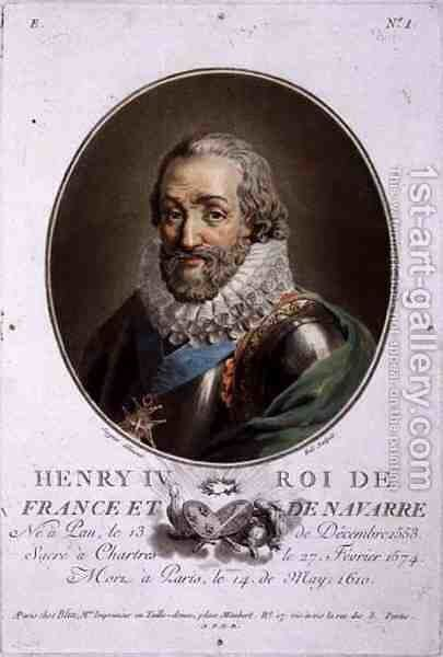 Portrait of Henri IV, King of France and Navarre 1553-1610 engraved by Ride by Antoine Louis Francois Sergent-Marceau - Reproduction Oil Painting