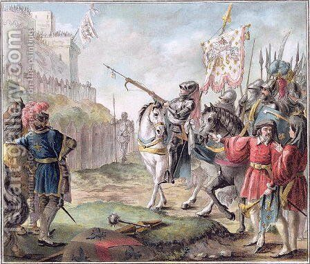 Joan of Arc 1412-31 Orders the English to Leave France, engraved by Louis Roger, 1787 by Antoine Louis Francois Sergent-Marceau - Reproduction Oil Painting