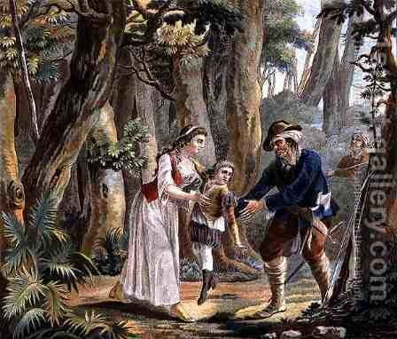 Marguerite dAnjou 1429-82 and her Son Saved by a Thief, engraved by Jean Baptiste Morret fl. 1790-1820 1787 by Antoine Louis Francois Sergent-Marceau - Reproduction Oil Painting