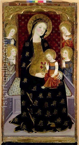 Madonna and Child with angels, 1360 by Jaume Serra - Reproduction Oil Painting