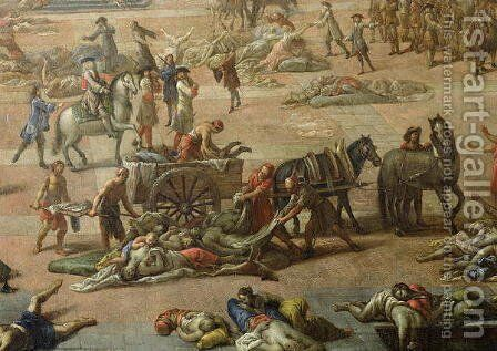View of the Town Hall, Marseilles, during the Plague of 1720, detail of the carts laden with the dead by Michel Serre - Reproduction Oil Painting