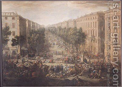View of the Cours Belsunce, Marseilles, During the Plague of 1720, 1721 by Michel Serre - Reproduction Oil Painting