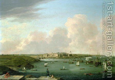 The taking of Belle Isle, 1761, by Commodore Keppel and Col. Hodgson by Dominic Serres - Reproduction Oil Painting