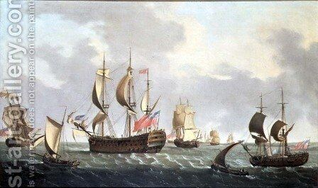 Royal Squadron off the Coast by Dominic Serres - Reproduction Oil Painting