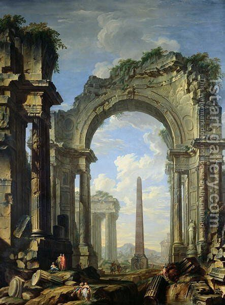 Landscape with Ruins by Giovanni Niccolo Servandoni - Reproduction Oil Painting