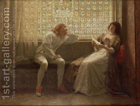 And then, the lover sighing like furnace, with a woeful ballad made to his mistress eyebrow, Act II, Scene VII from 'As You Like It, by William Shakespeare 1564-1616, 1883 by Charles C. Seton - Reproduction Oil Painting