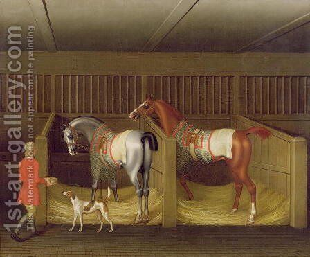 The Stables and Two Famous Running Horses belonging to His Grace, the Duke of Bolton, 1747 by James Seymour - Reproduction Oil Painting
