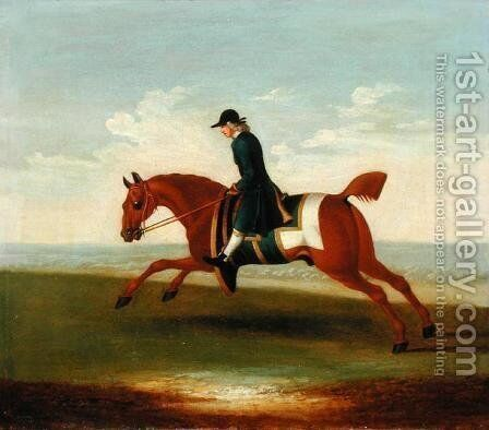 Chestnut Racehorse Exercised by a Trainer in a Blue Coat by James Seymour - Reproduction Oil Painting