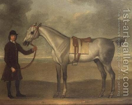 Grey racehorse held by a groom by James Seymour - Reproduction Oil Painting