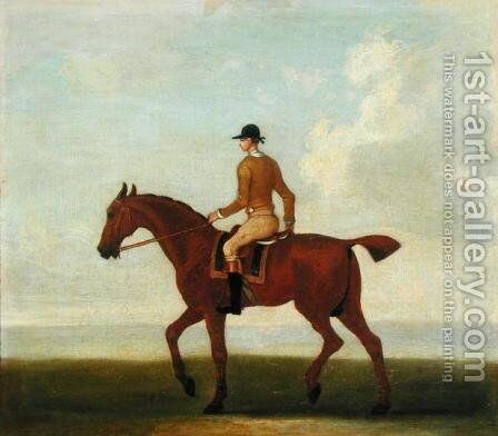 A Chestnut Racehorse with Jockey Up, c.1730 by James Seymour - Reproduction Oil Painting
