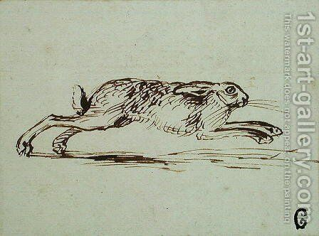 A Hare Running, With Ears Laid Back by James Seymour - Reproduction Oil Painting
