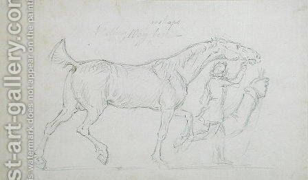 Man Leading a Trotting Stallion to Right by James Seymour - Reproduction Oil Painting