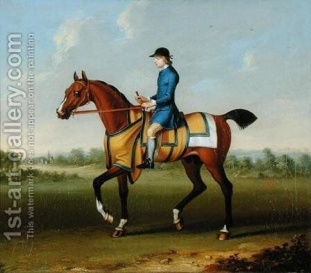 A Bay Racehorse with Jockey Up by James Seymour - Reproduction Oil Painting