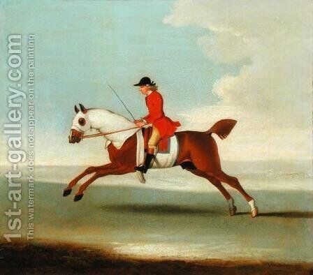 Galloping Racehorse and mounted Jockey in Red by James Seymour - Reproduction Oil Painting