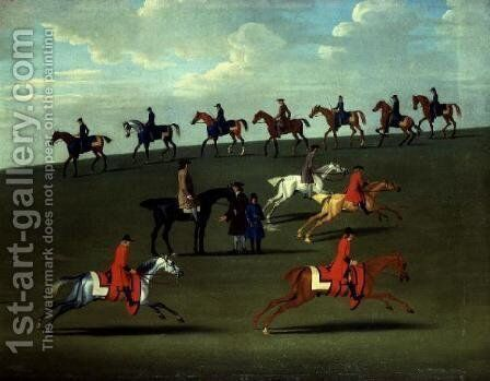 Race Horses exercising in a landscape by James Seymour - Reproduction Oil Painting