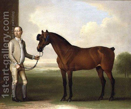 Regulus, a dark bay racehorse with a groom by James Seymour - Reproduction Oil Painting