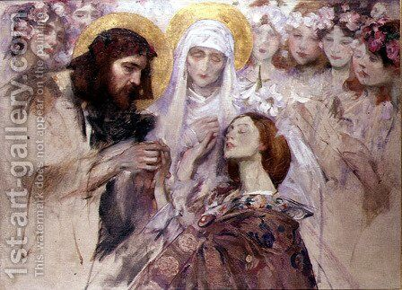 Christ Blessing a Young Woman by James Jebusa Shannon - Reproduction Oil Painting