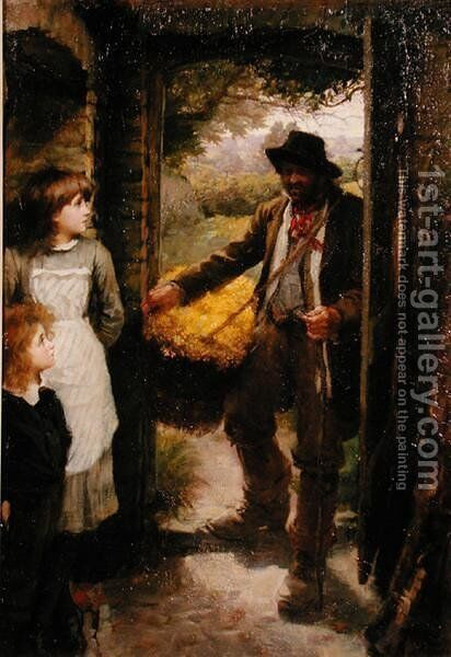 The Cowslip Gatherer by James Jebusa Shannon - Reproduction Oil Painting