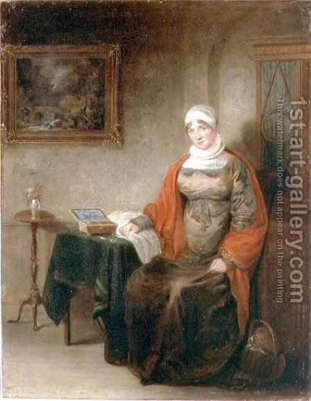 Portrait of Mrs John Crome Seated at a Table by an Open Workbox by Michael William Sharp - Reproduction Oil Painting