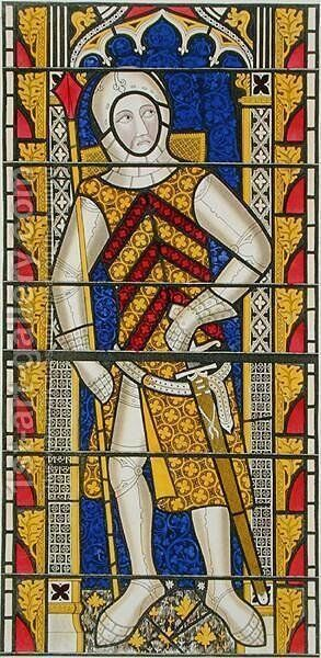 Gilbert de Clare, 3rd Earl of Gloucester 1243-95, after a stained glass window of c.1340 in Tewkesbury Abbey Church by Henry Shaw - Reproduction Oil Painting