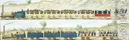 Travelling on the Liverpool and Manchester Railway, engraved by S.G. Hughes, c.1831 by (after) Shaw, Isaac - Reproduction Oil Painting