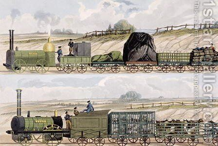 A Train of Wagons top and a Train of Cattle, Sheep and Pigs bottom from Coloured View of the Liverpool - Manchester Railway, engraved by S.G. Hughes, published by Ackermann  Co., London, 1832-33 by (after) Shaw, Isaac - Reproduction Oil Painting