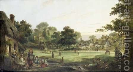 Village Cricket, c.1870 by Charles Waller Shayer - Reproduction Oil Painting