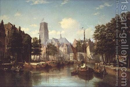 A Dutch Canal Scene, 1867 by Andrew Shearbon - Reproduction Oil Painting