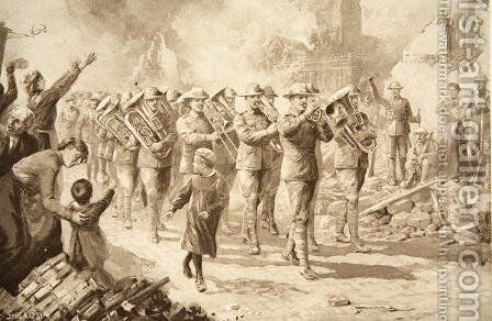 The Music of Triumph: Victorious Australians entering Bapaume, 17th March 1917 by Charles Mills Sheldon - Reproduction Oil Painting