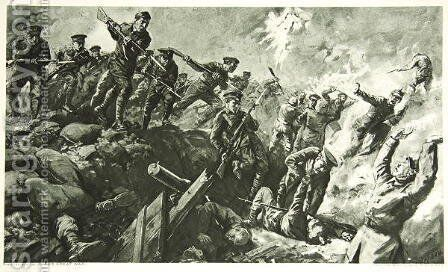 The Capture of the German trenches at Neuve Chapelle by Charles Mills Sheldon - Reproduction Oil Painting