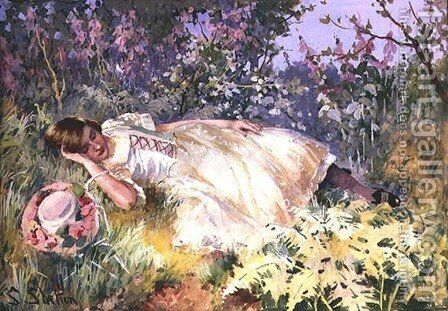 Asleep among the Foxgloves by Sidney Shelton - Reproduction Oil Painting
