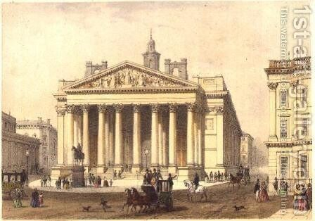The Royal Exchange, engraved by Charles-Claude Bachelier fl.1830-60, pub. 1854 by E. Gambart and Co. by Thomas Hosmer Shepherd - Reproduction Oil Painting
