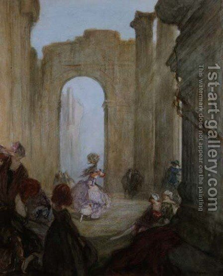 Girls watching a dancer among classical ruins by Claude Shepperson - Reproduction Oil Painting