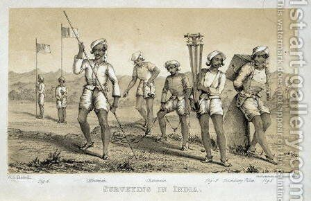 Surveying in India, 1855 by (after) Sherwill, W. - Reproduction Oil Painting